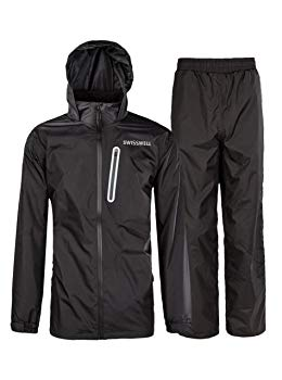 SWISSWELL Rain Suit for Men Waterproof Hooded Rainwear (Jacket & Trouser Suit)